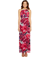 Sangria - Floral Print Chiffon Maxi with Chain Strap Detail