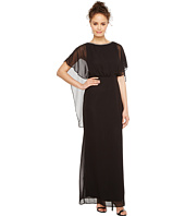 Sangria - Solid Capelet Column Gown with Embellished Neckline
