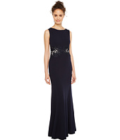 Sangria - Solid Crepe Evening Gown with Lace and Illusion Waist Detail