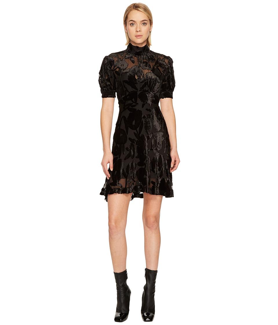 McQ Short Gather Sleeve Dress (Black) Women