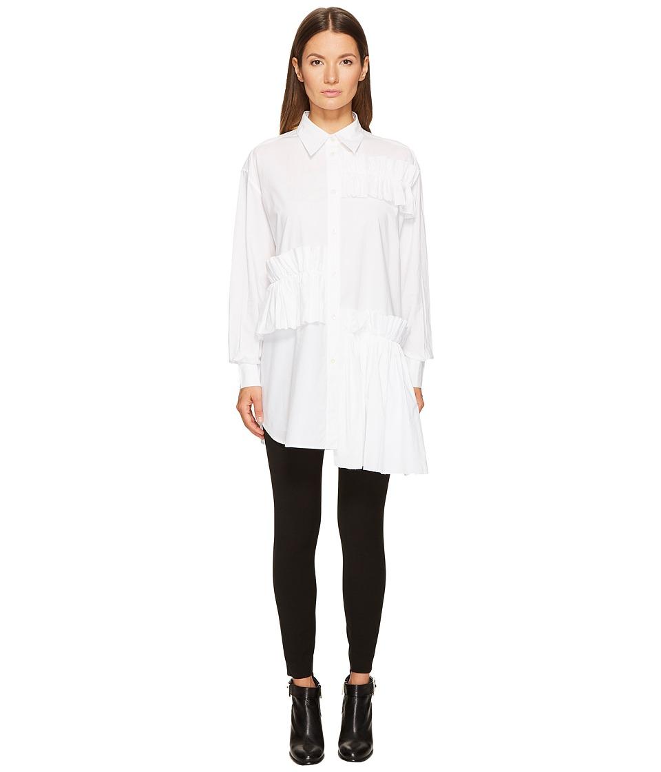 McQ Ruffle Tunic Shirt (Optic White) Women's Blouse