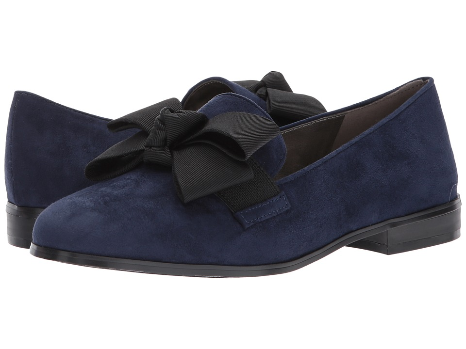 Retro Vintage Flats and Low Heel Shoes Bandolino - Lomb Navy Multi Faux SuedeGrosgrainGore Womens Shoes $62.99 AT vintagedancer.com