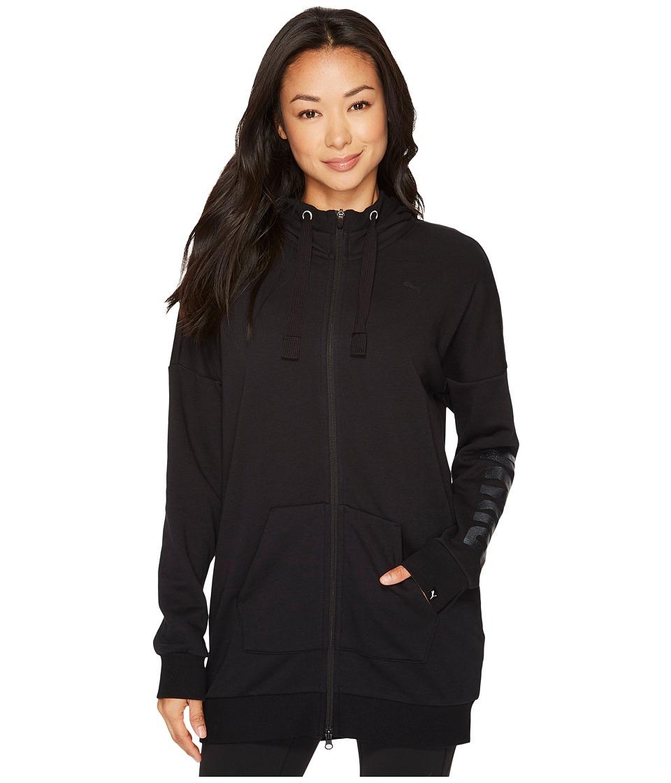 PUMA Fusion Elongated Full Zip Hoodie (Cotton Black/Glitter) Women