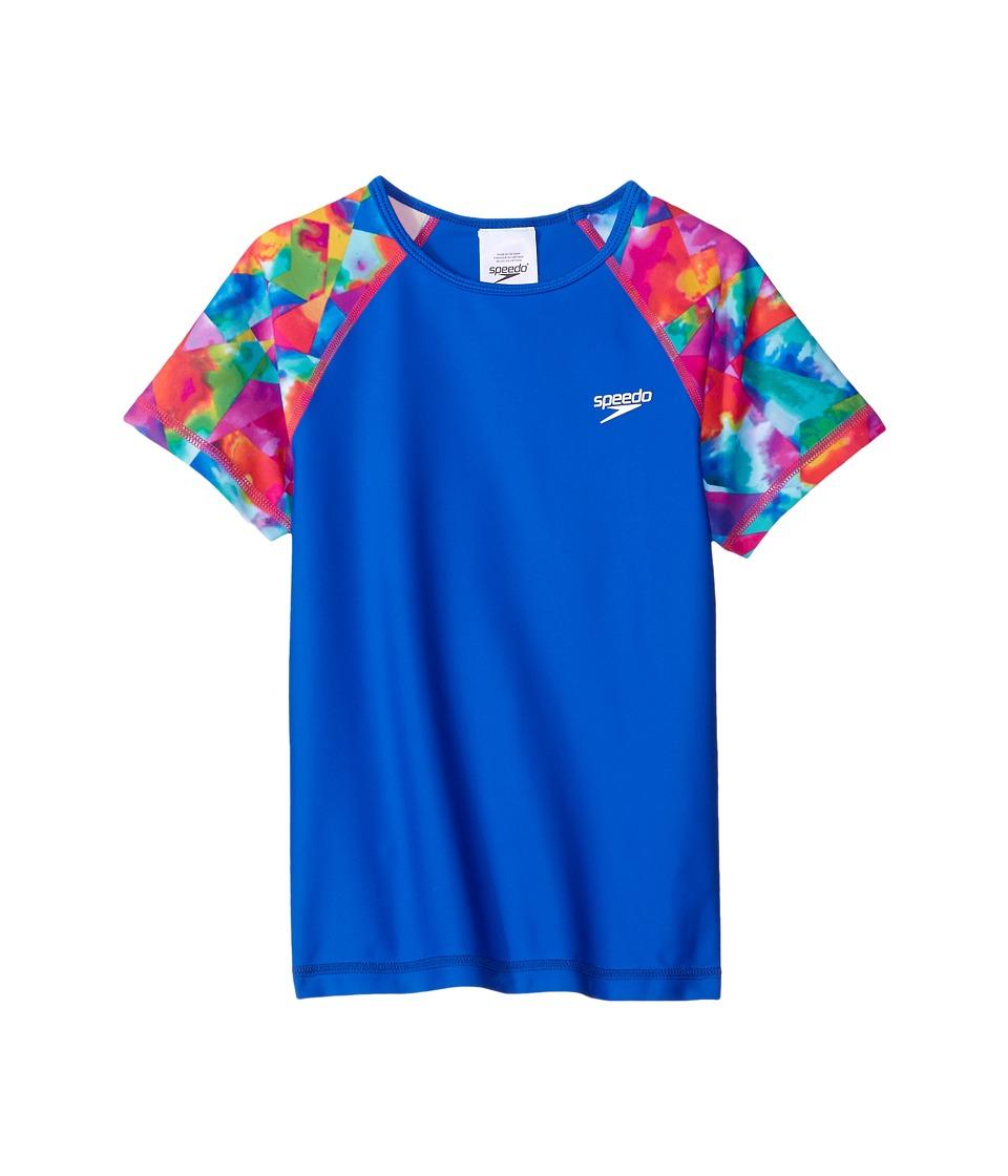 Speedo Kids Printed Short Sleeve Rashguard (Little Kids/Big Kids) (Radiant Blue) Girl