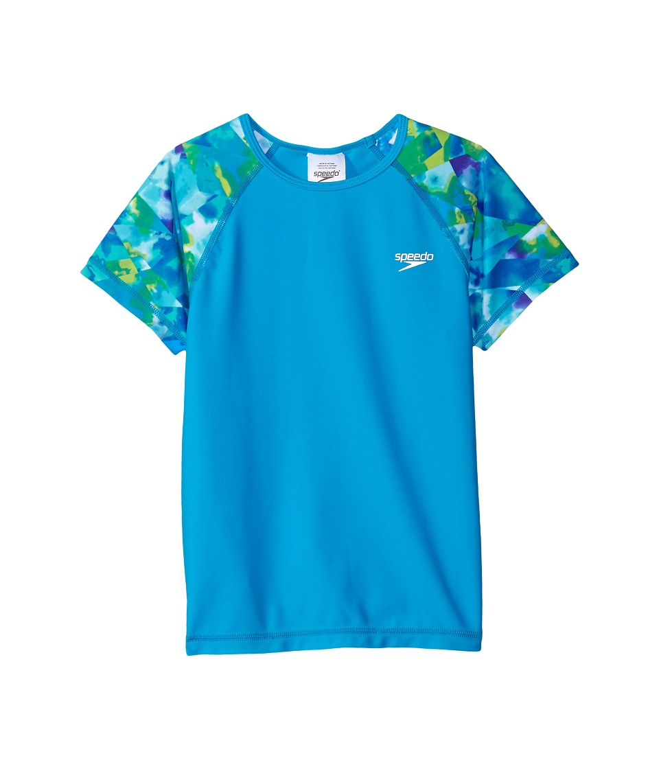 Speedo Kids Printed Short Sleeve Rashguard (Little Kids/Big Kids) (Cyan) Girl