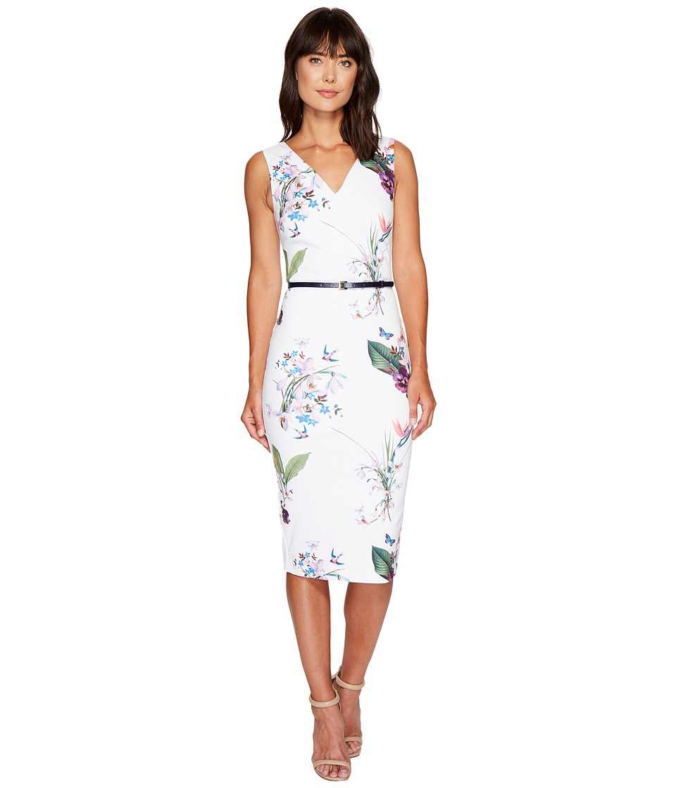 Ted Baker Kalab Tropical Oasis Dress with Bows (White) Women