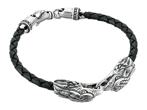 King Baby Studio Double Eagle Braided Leather Bracelet - Silver/Black