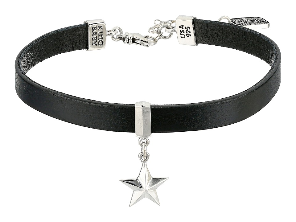 King Baby Leather Choker Necklace with Star (Silver/Black...