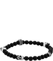 King Baby Studio - 6mm Onyx Bead Bracelet with Four Skulls