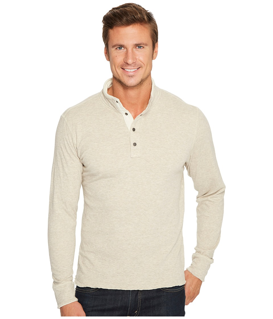 Jeremiah - Mitch Reversible Slub Jersey Mock (Taupe Heather) Mens Clothing