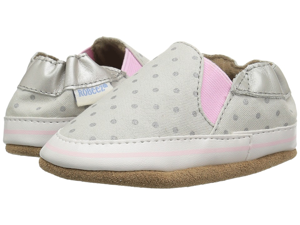 Robeez Dot Mania Soft Sole (Infant/Toddler) (Metallic Grey) Girl's Shoes