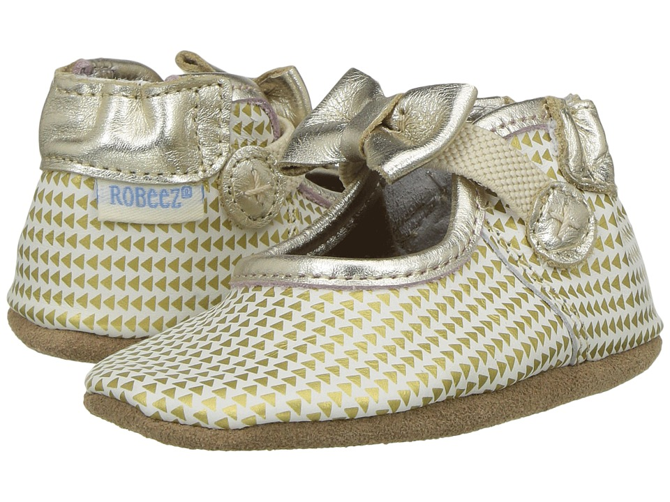 Robeez Triangle Print Mary Jane Soft Sole (Infant/Toddler) (Gold) Girl's Shoes