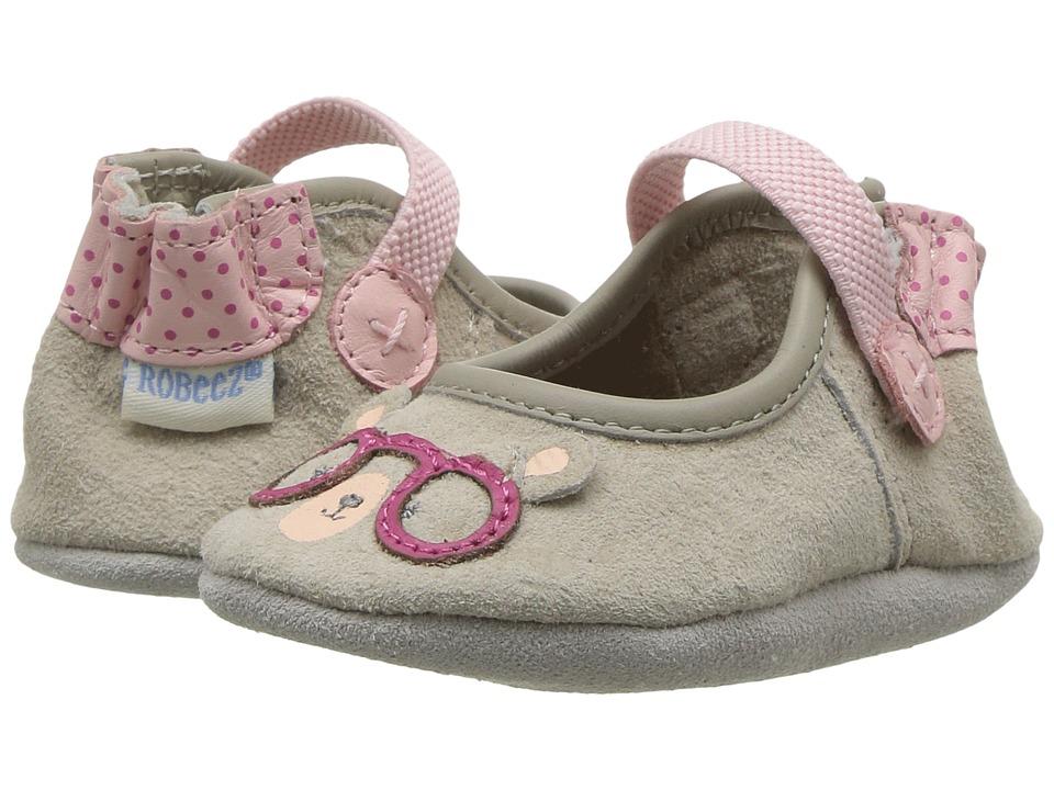 Robeez Miss Bear Soft Sole (Infant/Toddler) (Light Grey) Girl's Shoes