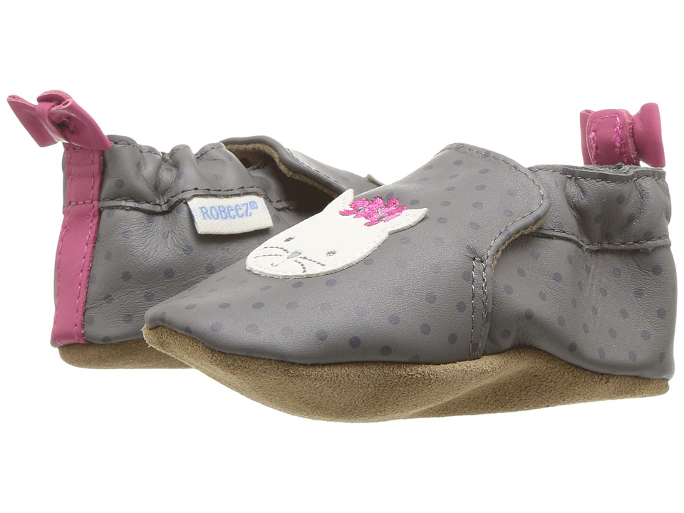 Robeez Miss Kitty Soft Sole (Infant/Toddler) (Grey) Girl's Shoes
