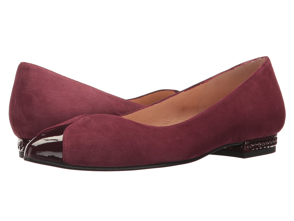 French Sole Zigzag (Raisin Suede/Patent) Women's Shoes