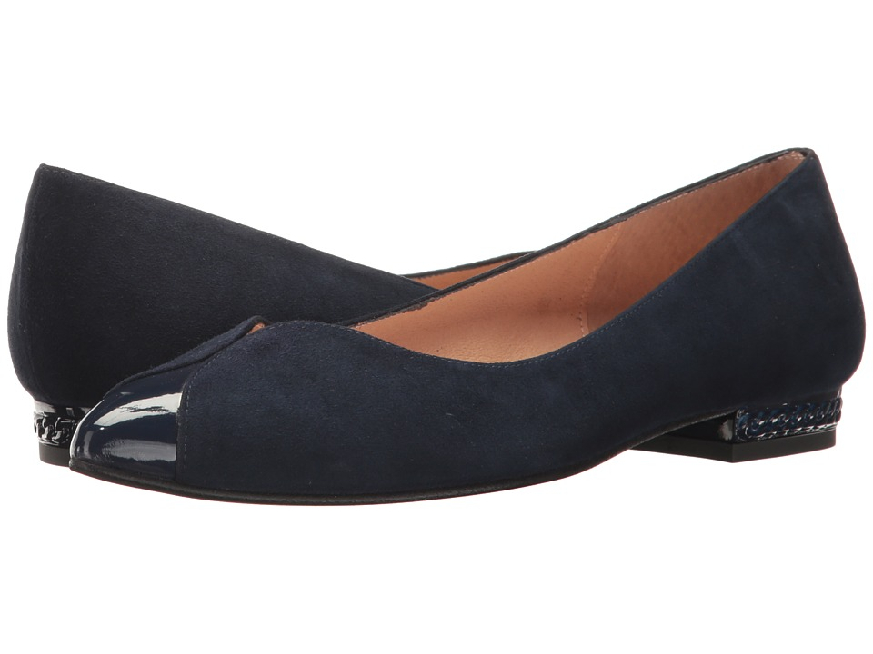French Sole Zigzag (Navy Suede/Patent) Women