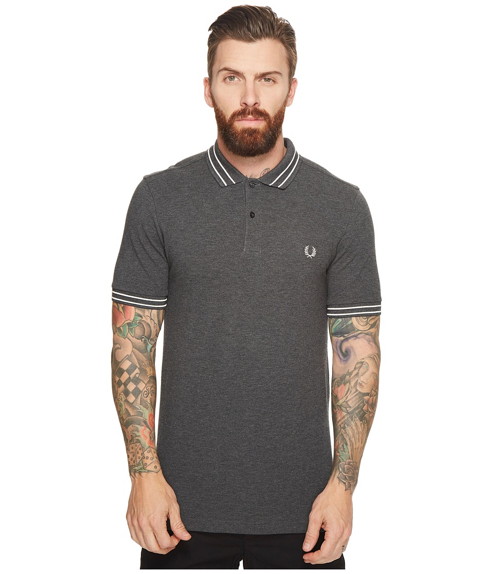 Fred Perry - Tramline Tipped Pique Shirt (Graphite Marl) Men's Clothing