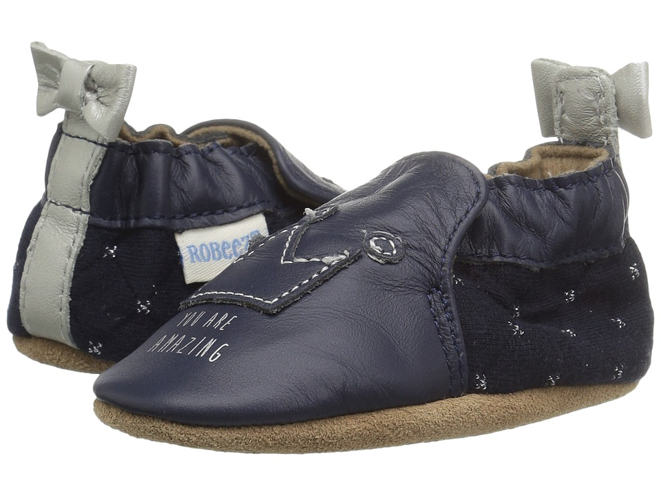 Robeez You Are Amazing Soft Sole (Infant/Toddler) (Navy) Girl's Shoes
