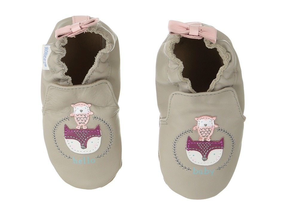 Robeez Hello Baby Friends Soft Sole (Infant/Toddler) (Light Grey) Girl's Shoes