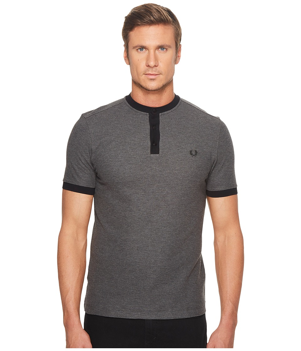 Fred Perry - Henley Collar Pique Shirt (Graphite Marl) Men's Clothing