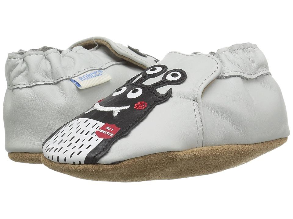 Robeez Monster Mash Soft Sole (Infant/Toddler) (Pale Grey) Boy's Shoes