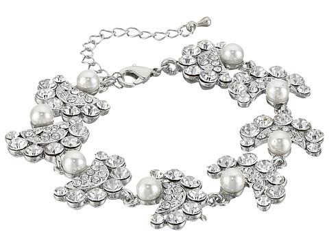 Nina Erma Bracelet - Rhodium/Ivory Pearl/White