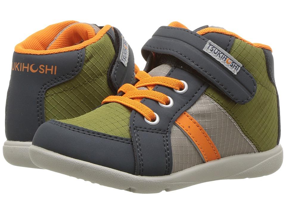 Tsukihoshi Kids Grid (Toddler/Little Kid) (Charcoal/Orange) Boys Shoes