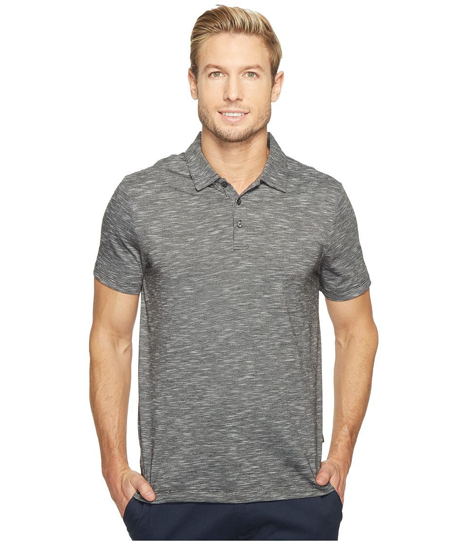Perry Ellis Solid Slub Stripe Three-Button Polo Shirt (Black) Men