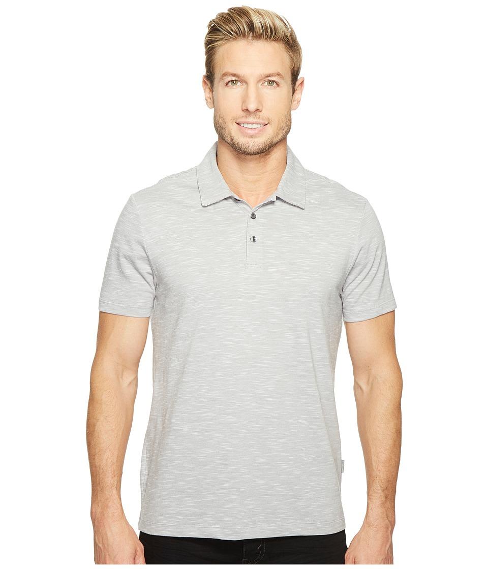 Perry Ellis Solid Slub Stripe Three-Button Polo Shirt (Alloy) Men