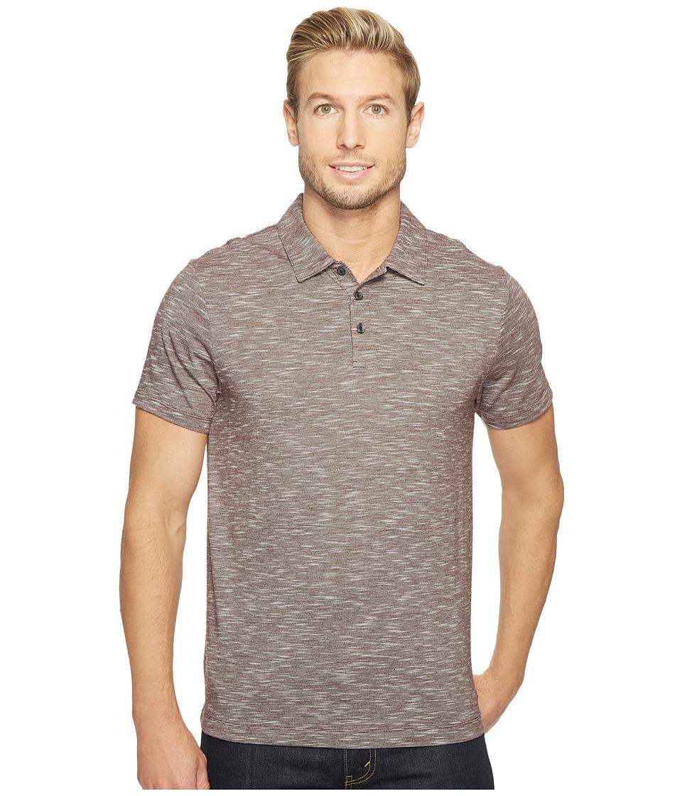 Perry Ellis Solid Slub Stripe Three-Button Polo Shirt (Royal Black Cherry) Men
