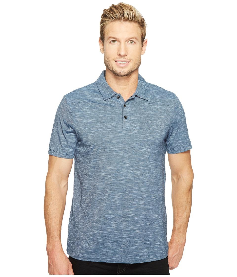 Perry Ellis Solid Slub Stripe Three-Button Polo Shirt (Blue Wing Teal) Men
