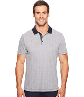 Perry Ellis - Geometric Herringbone Pattern Three-Button Polo Shirt