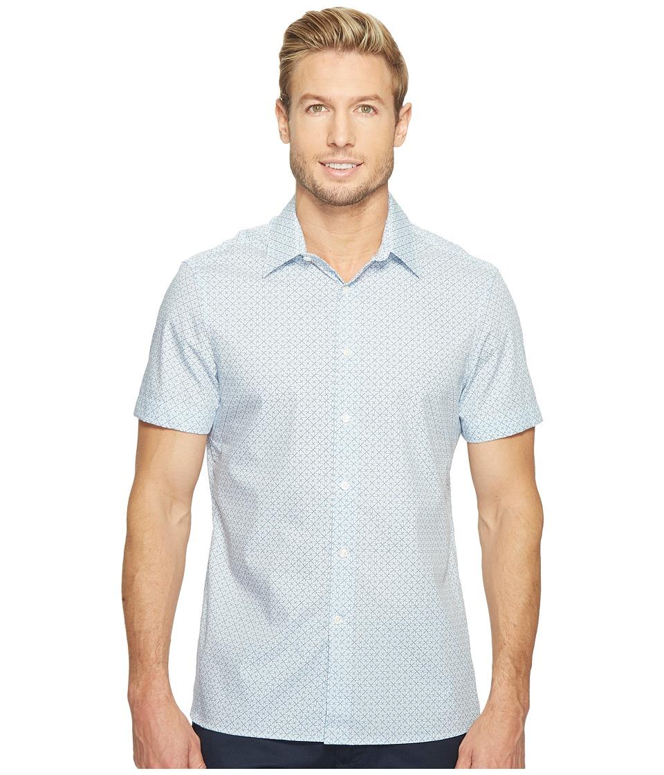 Perry Ellis Short Sleeve Graphic Linear Print Shirt (Kentucky Blue) Men