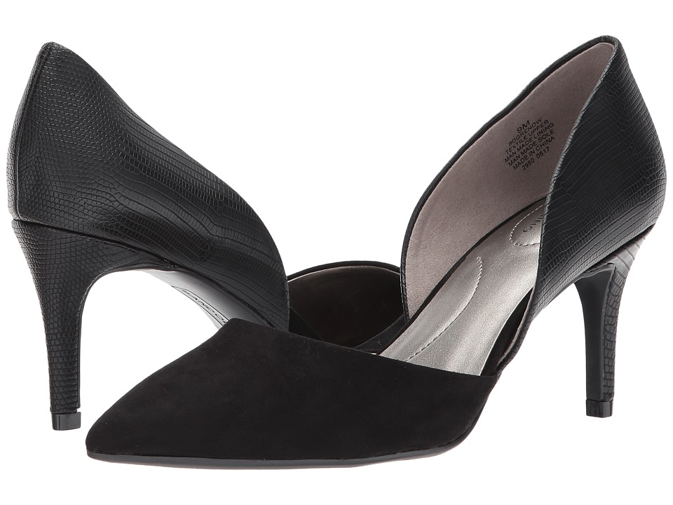 Bandolino Grenow D'Orsay Pump (Black Reptile Synthetic/Faux Suede) Women's Shoes