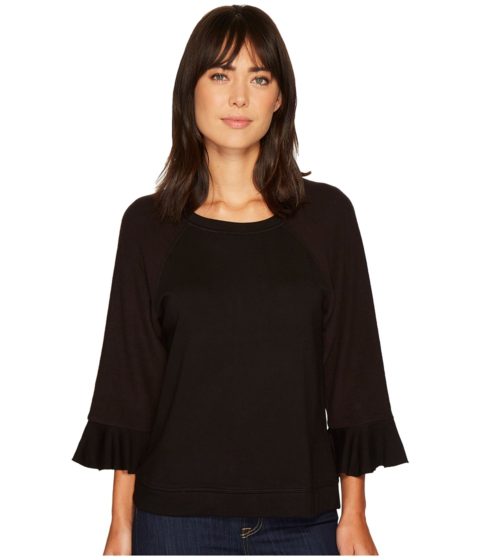 B Collection by Bobeau - Peggy Ruffle Sleeve Sweatshirt (Black) Womens Sweatshirt