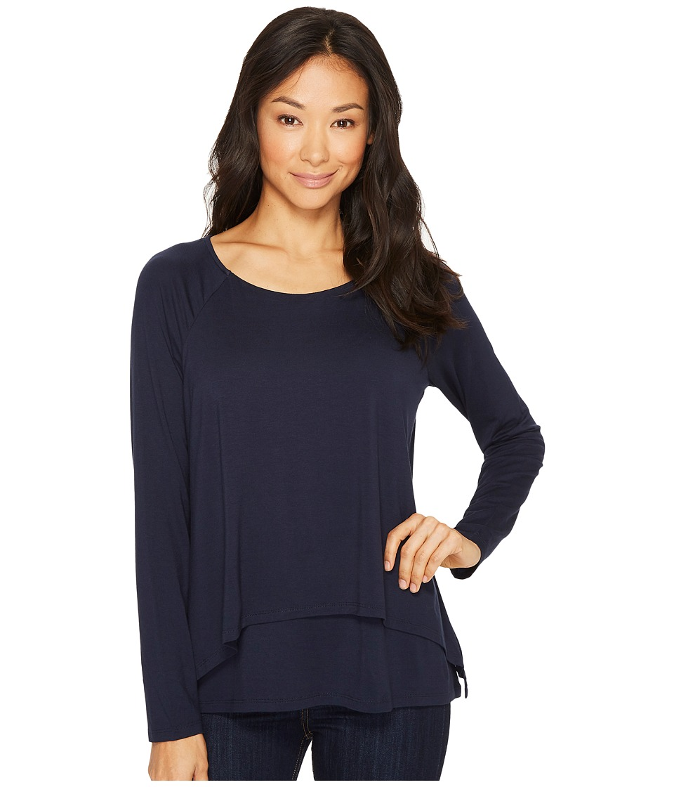 Image of B Collection by Bobeau - Ada Layered Knit Top (Midnight Navy) Women's Long Sleeve Pullover
