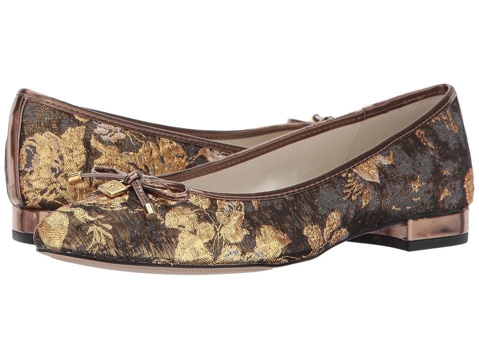 Anne Klein - Ovi (Dark Grey/Gold Multi Fabric) Womens Flat Shoes