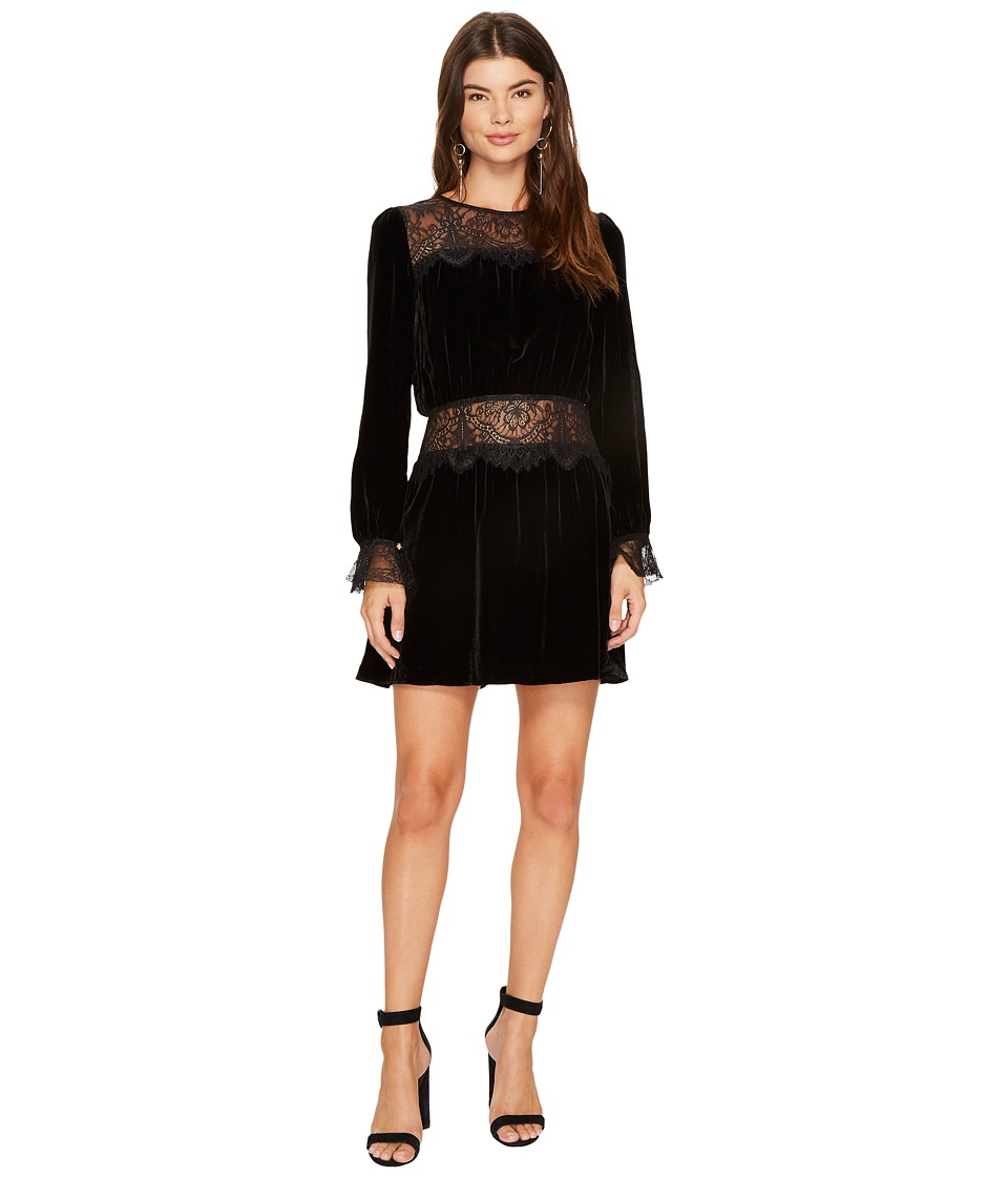 For Love and Lemons Beatrix Velvet Lace Mini Dress (Black) Women