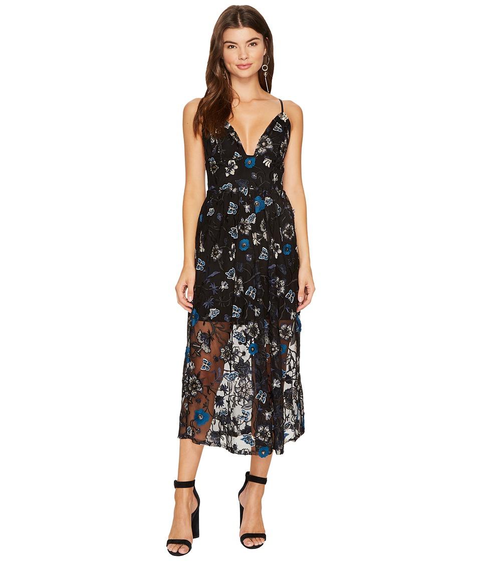 For Love and Lemons Botanic Midi Dress (Black Floral) Women