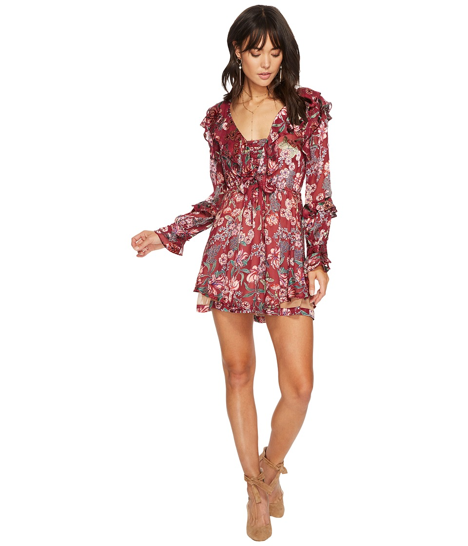 For Love and Lemons Flora Drawstring Mini Dress (Berry Floral) Women