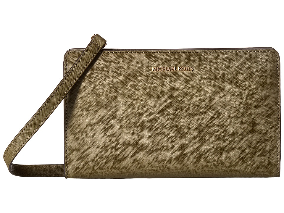 MICHAEL Michael Kors Jet Set Travel Large Crossbody Clutch (Olive) Clutch Handbags