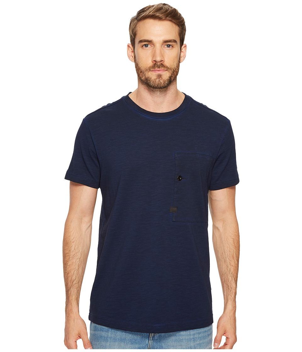 G-Star Stalt Relaxed Round Tee Short Sleeve (Dark Naval Blue/Black Overdye) Men