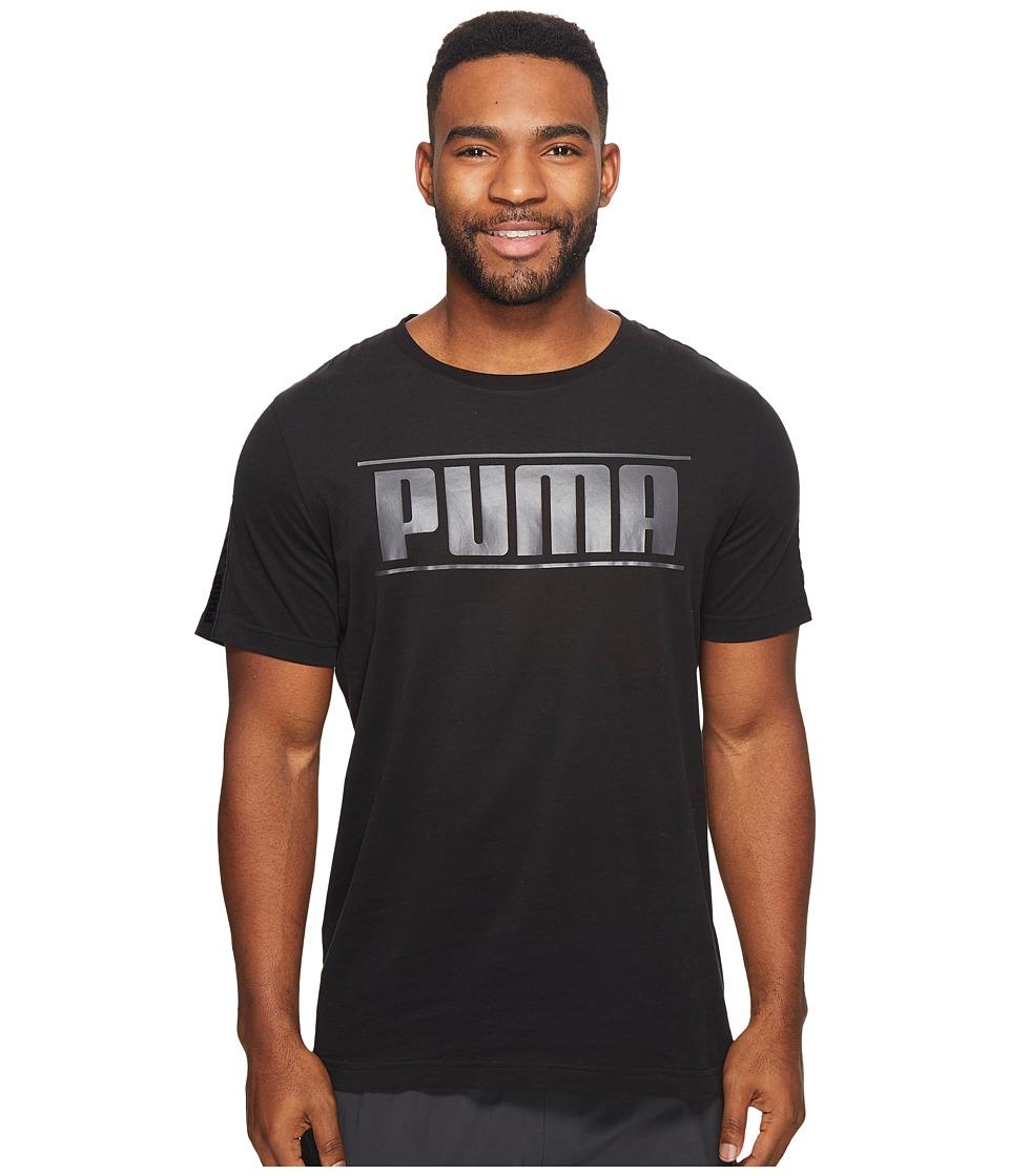 PUMA Rebel Tape Logo Tee (Cotton Black) Men