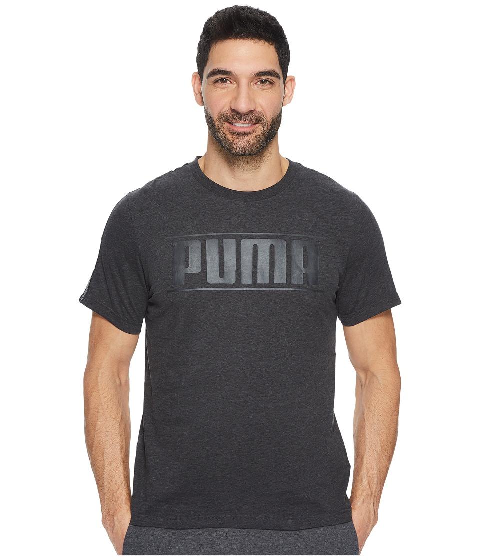 PUMA Rebel Tape Logo Tee (Dark Gray Heather) Men