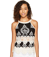 ROMEO & JULIET COUTURE - Sleeveless Lace Neck and Trim Top