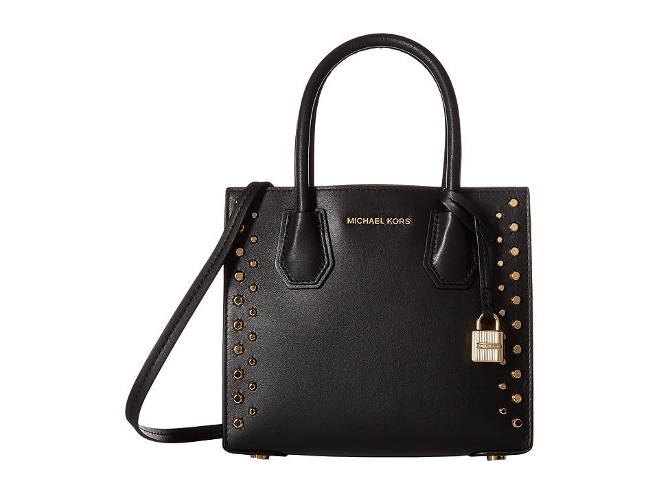 MICHAEL Michael Kors Mercer StudGrommet Medium Messenger (Black) Messenger Bags