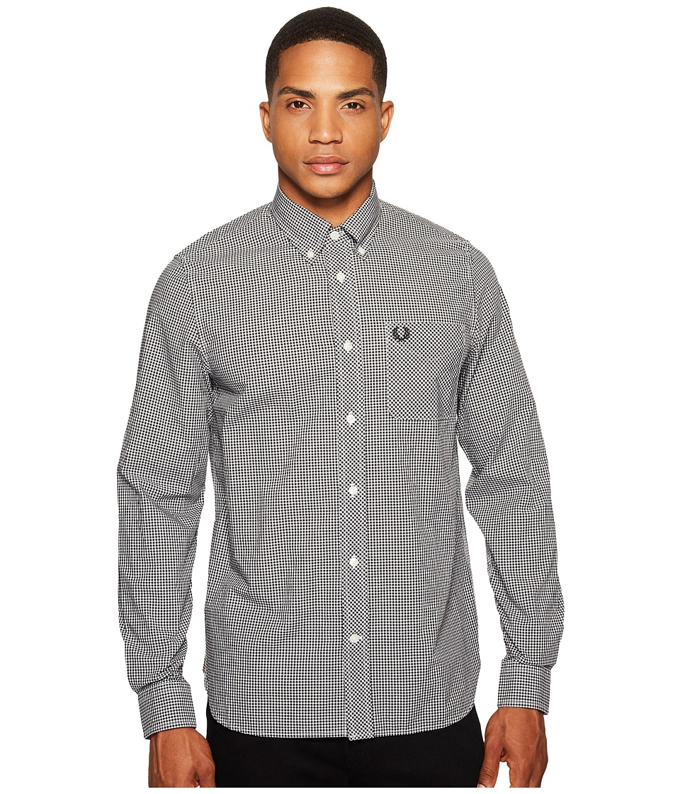 Fred Perry Long Sleeve Classic Gingham Shirt (Black) Men'...