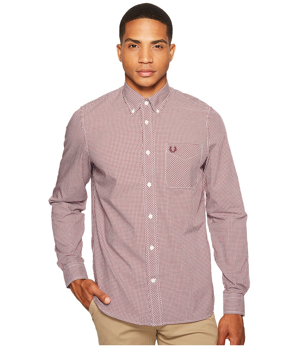 Fred Perry Long Sleeve Classic Gingham Shirt (Mahogany) M...