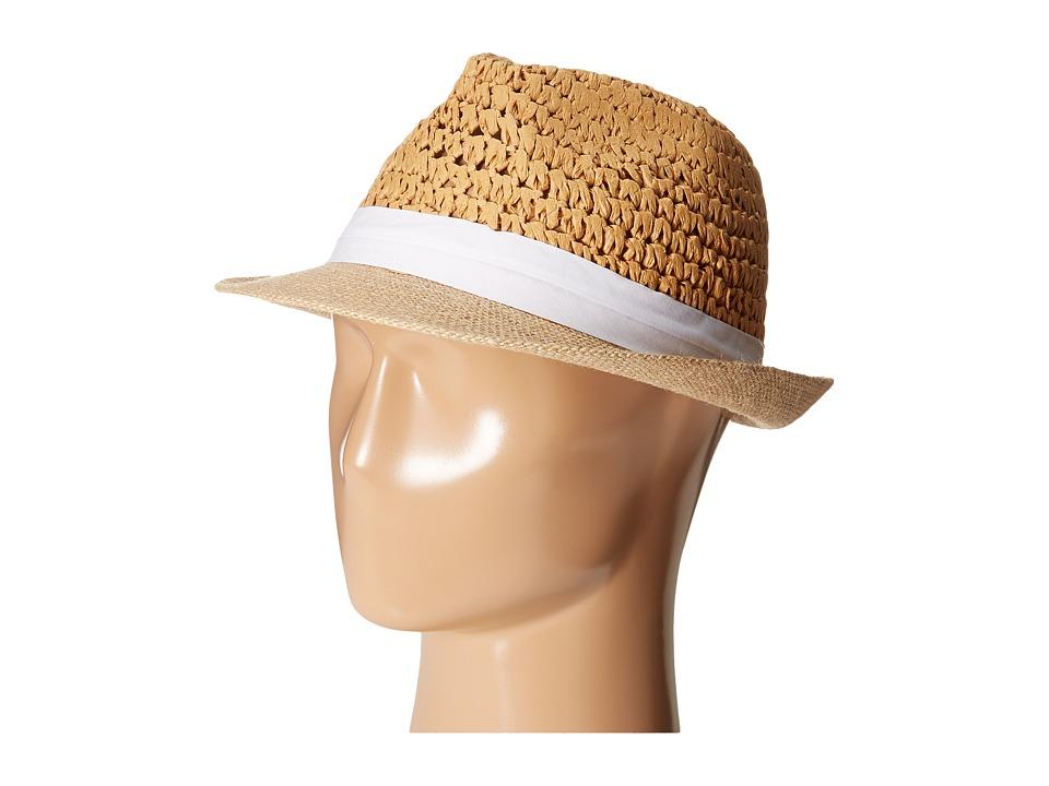 Steve Madden Two Weave Banded Fedora (White) Fedora Hats