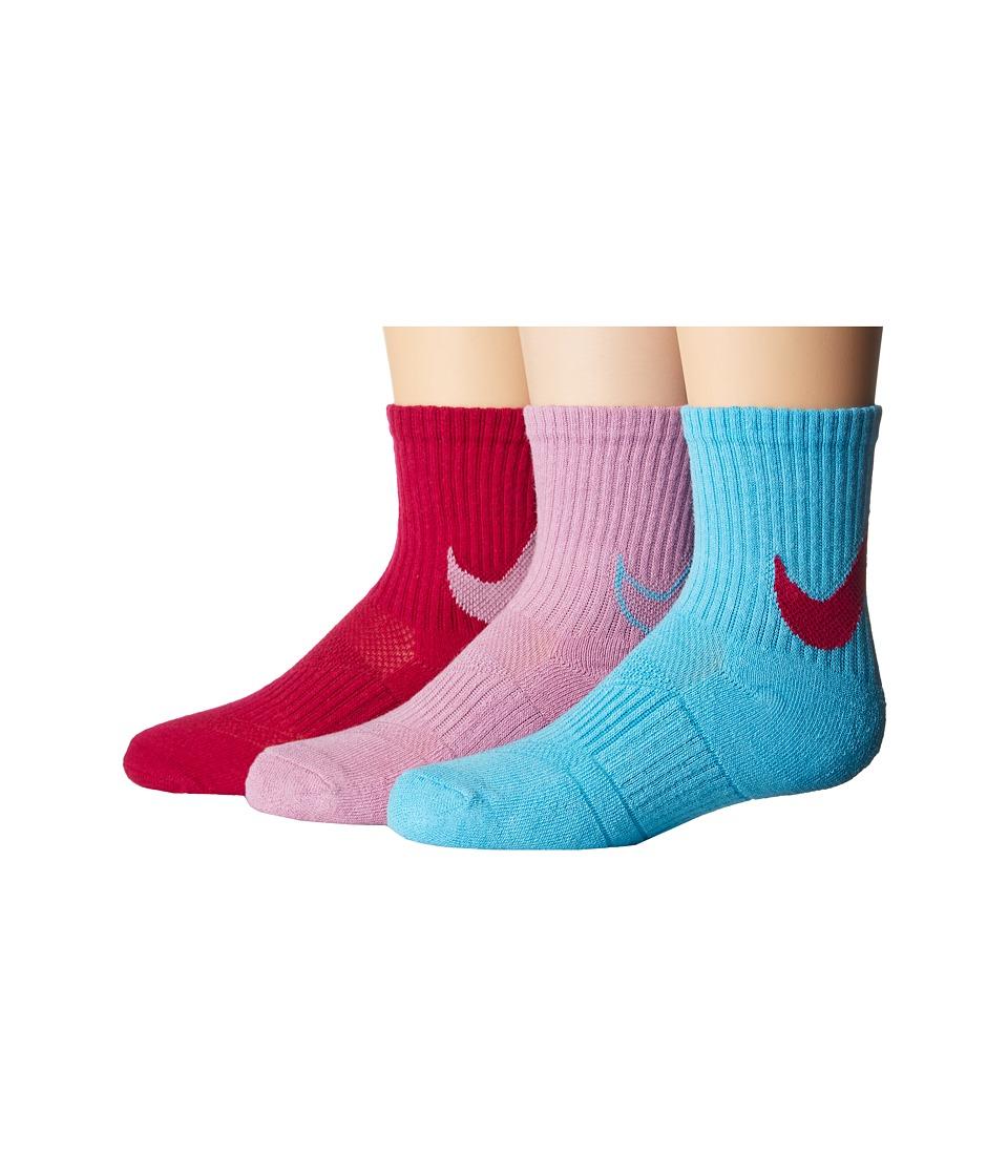 Nike Kids 3-Pair Pack HBR Trainers Crew Socks (Toddler) (Vivid Sky) Girls Shoes
